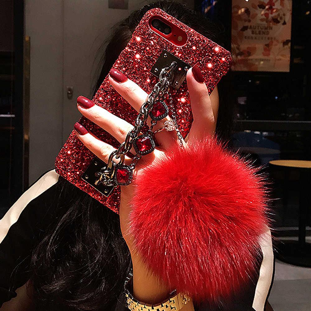 Iphone 11Pro 最大 XR 7 8 プラスダイヤモンド宝石ブレスレットチェーン毛皮のボール電話ケースサムスン Note10 s10 S9 S8 プラス A10 A50