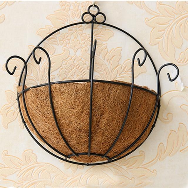 25cm Half Wall Wire Hanging Flower Pot Metal Decorative Coir Basket Indoor  Garden Plant Wall