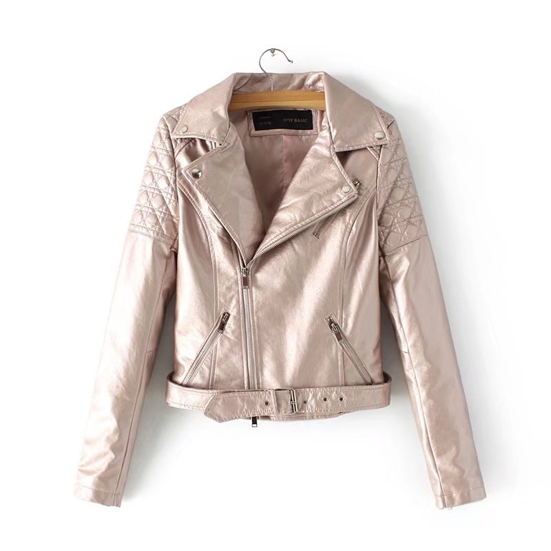 2019 European & American New Fashion Puff Sleeve Ladies   Leather   Jackets Pu Pink Jaqueta Motoqueiro Feminina With Belt Free Shipp