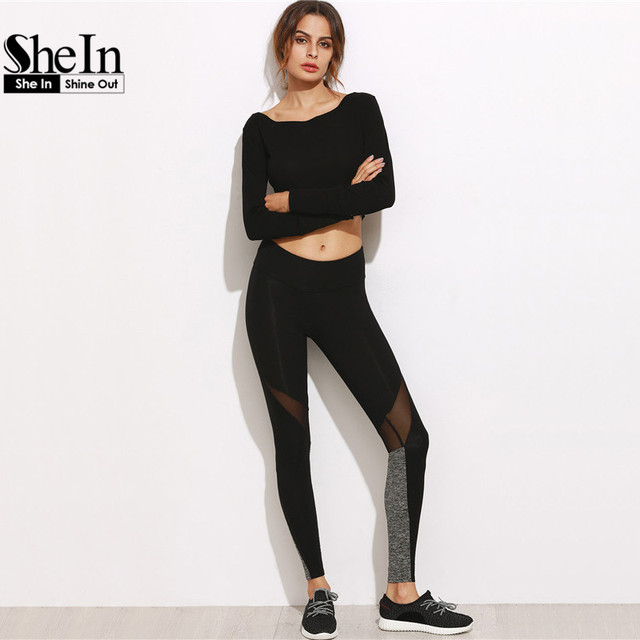Leggings Fitness Winter Leggings New Arrival Ladies Plain Elastic Waist Color Block Mesh Insert Leggings