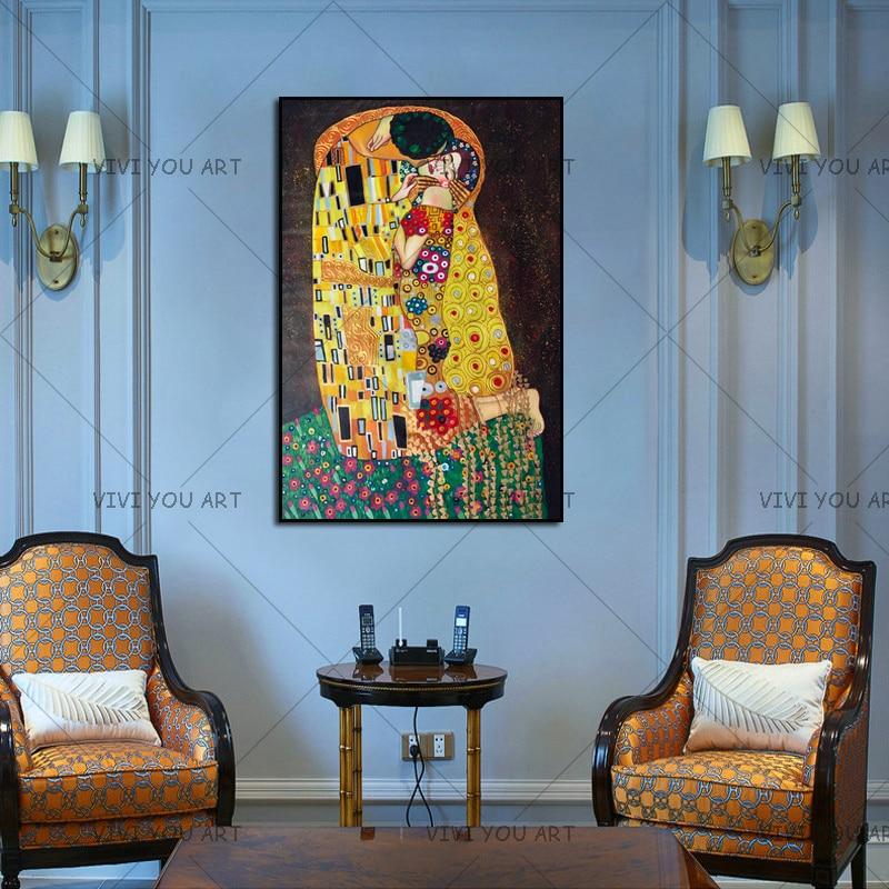 Pintura a mano reproducción oro pintura al óleo sobre lienzo arte de pared hecho a mano Gustav Klimt beso en amor artesanía decorativa - 4