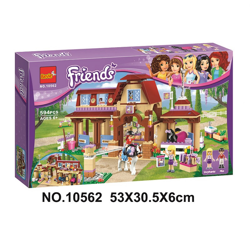 594pcs Friends Series Heartlake Riding Club Building Kit 3D 10562 Model Blocks Princess Children Gifts Toys Compatible LegoINGly