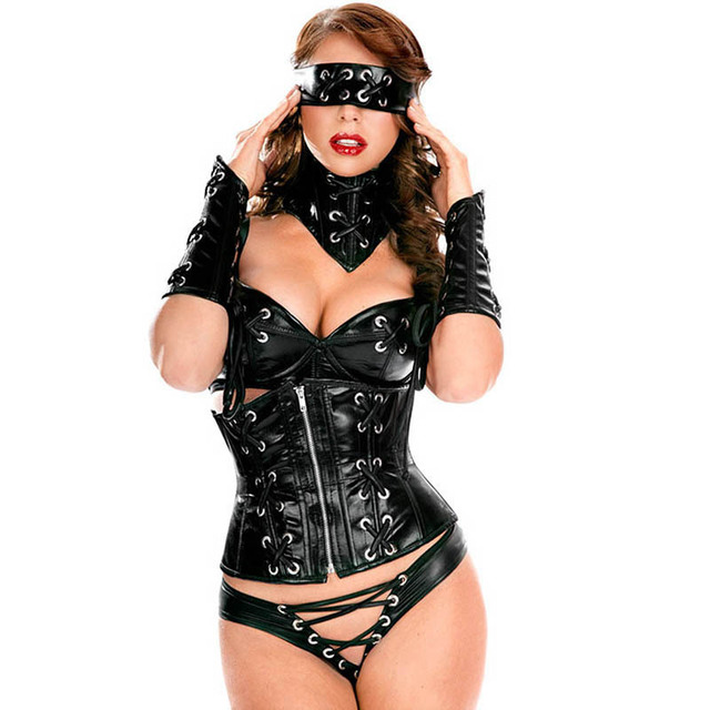 6 Piece Black Pvc Leather Adult Costumes Sexy Costume Halloween Party Pole Dance Outfit Women