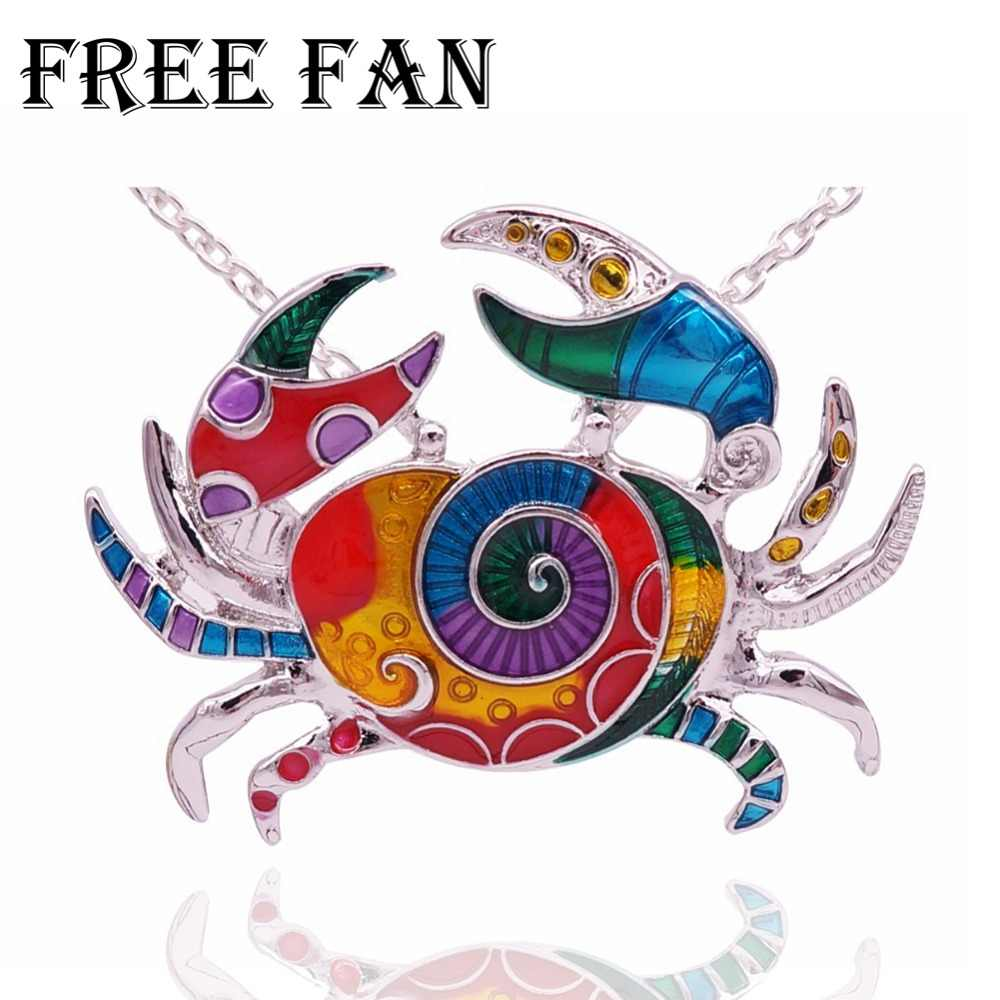 Free Fan Hot Statement Enamel Crab Necklace Pendants Chain Collar Ocean Sea Animal Necklace Jewelry For Women Girls Accessories