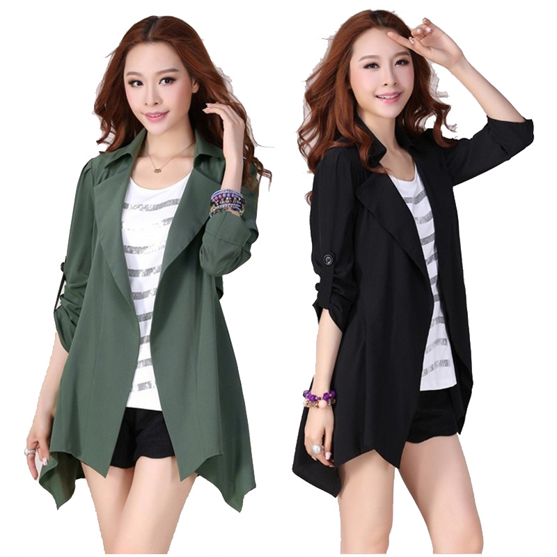Zogaa Women Coat Open Stich Workwear Office Casual   Trench   Coat Plus Size 3/4 Sleeve Pure Color Women Autumn Spring Overcoats