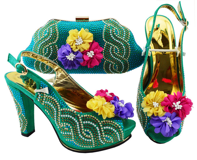 Popular teal green high heel pump shoes matching handbag sets with nice flower decoration JZS-02, many colorPopular teal green high heel pump shoes matching handbag sets with nice flower decoration JZS-02, many color