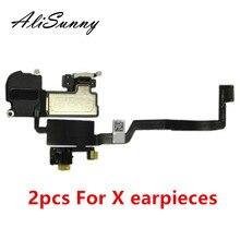 Alisunny 2 Stuks Oortelefoon Flex Kabel Voor Iphone X Ear Sound Speaker Oor Stukken Vervangende Onderdelen