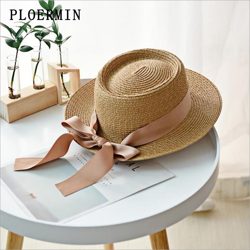 Women Summer Beach Sun Hat 2019 New Brand Flat Top Straw Hat Fashion Girl Ribbon Bow Beach Hat Boater Hats Bone Feminino