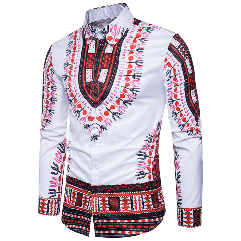 2018 New mens casual shirt 3D stereo National style printing popular men Urban fashion Edition long sleeved Shirt Tops EU size