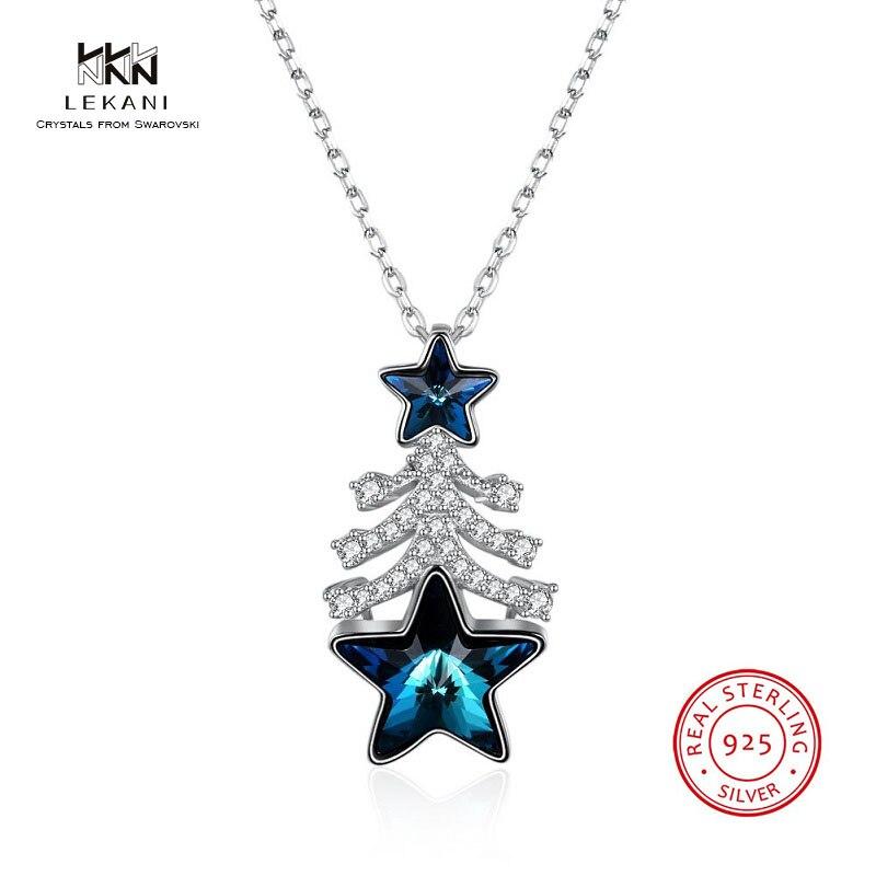 LEKANI Crystals From Swarovski Necklace925 Christmas Pentagram Gift Pendant Necklace 2018 Fashion Prom Ladies