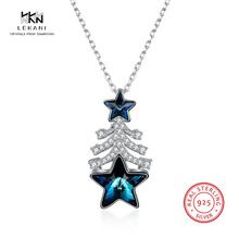 LEKANI Crystals From Swarovski Necklace925 Christmas Pentagram Gift Pendant Necklace 2018 Fashion Prom Ladies