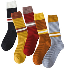 Winter new thick warm womens fashion color matching cashmere tube female socks solid retro striped