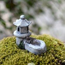 Статуэтки, микро пейзаж пруд башня Ретро садовая Статуэтка Декор ремесла красивый Смола дворовый бонсай мини-игрушки Реалистичные
