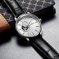 Мужские часы MEGIR  классические водонепроницаемые механические часы с кожаным ремешком  аналоговые наручные часы для мужчин  часовой механи...