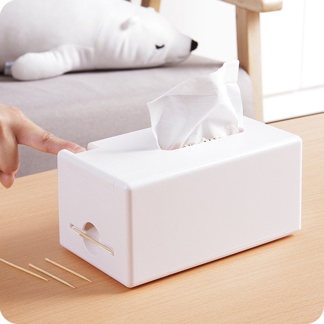 Multi Function 2 In 1 Tissue Box Napkin Holder With Toothpick Dining Table