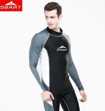 SBART Long Sleeve Surf Rashguard  Men Lycra Swimsuit Protection Windsurf Rash Guard Swimming Surfing Shirt Swimwear Tops цена