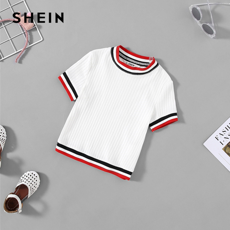 SHEIN Kiddie White Striped Ribbed Casual T Shirt For Girls Clothing 2019 Summer Korean Short Sleeve Tee Shirts Active Girls Tops color block short sleeve t shirt with pocket