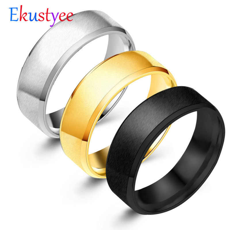 Fashion Simple Matt 316L Stainless Steel Rings for Women 2018 jewelry wholesale Party Gift Dropshopping