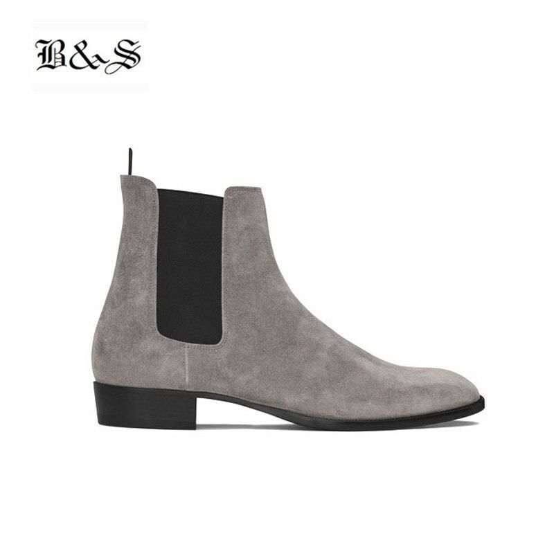 Black& Street Handmade Pointed Toe Classical Chelsea Men Boots Kanye Slip On Banquet Genuine Leather Dress Slim Denim Boots недорго, оригинальная цена