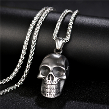 Punk Skull Skeleton Necklace for Men Jewelry Stainless steel Silver color Hiphop Necklaces Pendants Gift With Bags