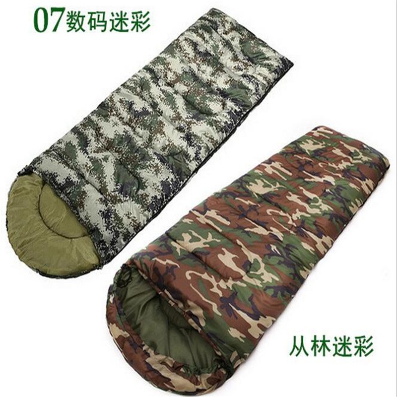 Thicken Portable Outdoor Camping Tent Sleeping Bags Camouflage Envelope type Sleeping Bag harlem hl 255 outdoor dual layers thicken camping sleeping bag green grey