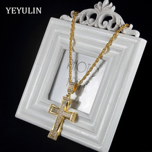 High Grade Rhinestone Gold Color Alloy Cross Pendant Statement Necklace for Women Men Jewelry