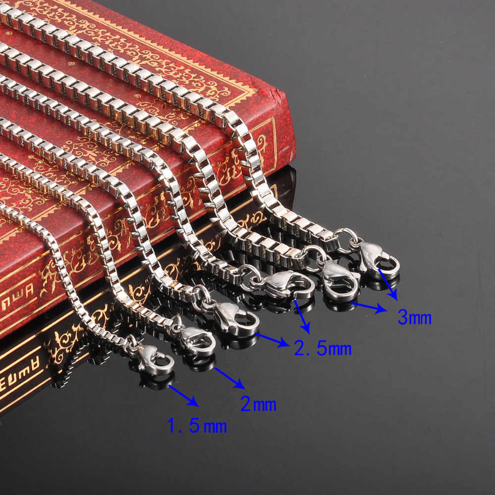 FUNIQUE 45/50/55/60cm Stylish Stainless Steel Box Chain Necklace For Men Women Fine Jewelry Silver gold color Chain Necklace