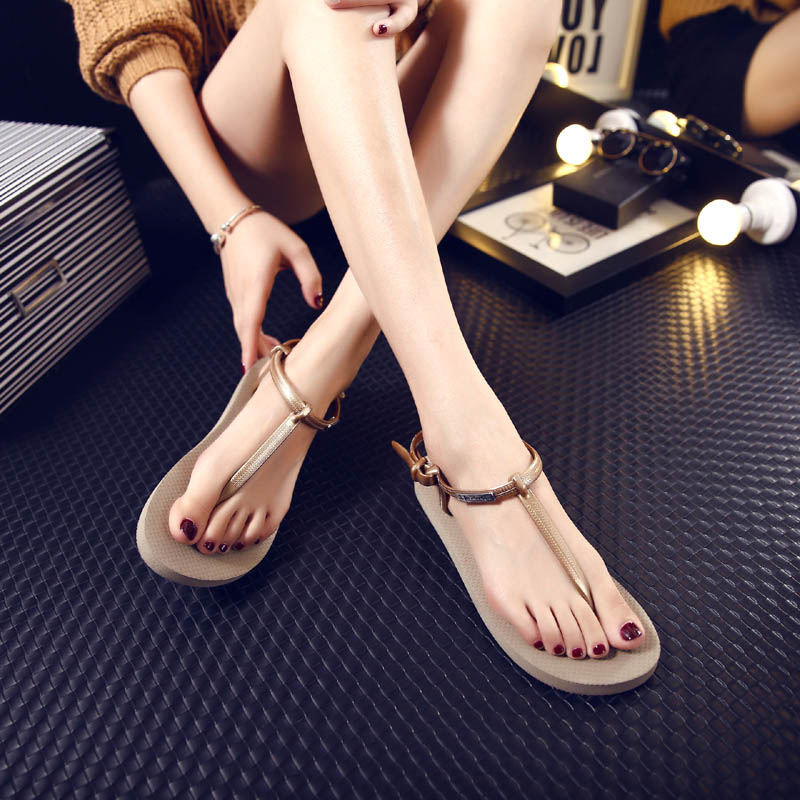 Fashion Roman Summer Flat Sandals For Women Bohemia Sandals Black Apricot Sweet Ladies Fashon Shoes Free Shipping