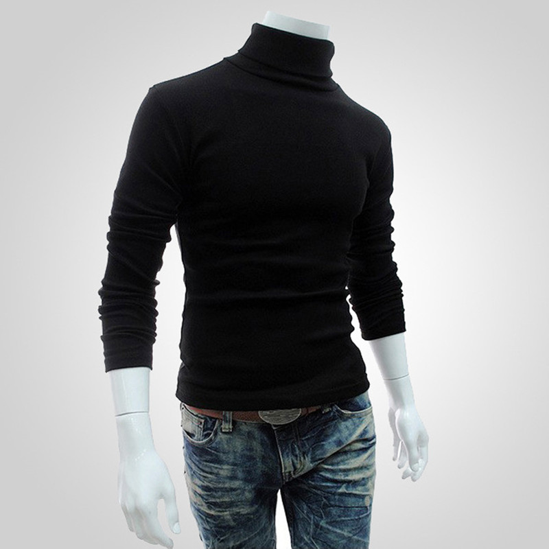 New 2019 Men's Fashion Pure Color Fine Cotton Pure Color Leisure Turtleneck Knitting A Sweater / Men Slim Recreational Sweater