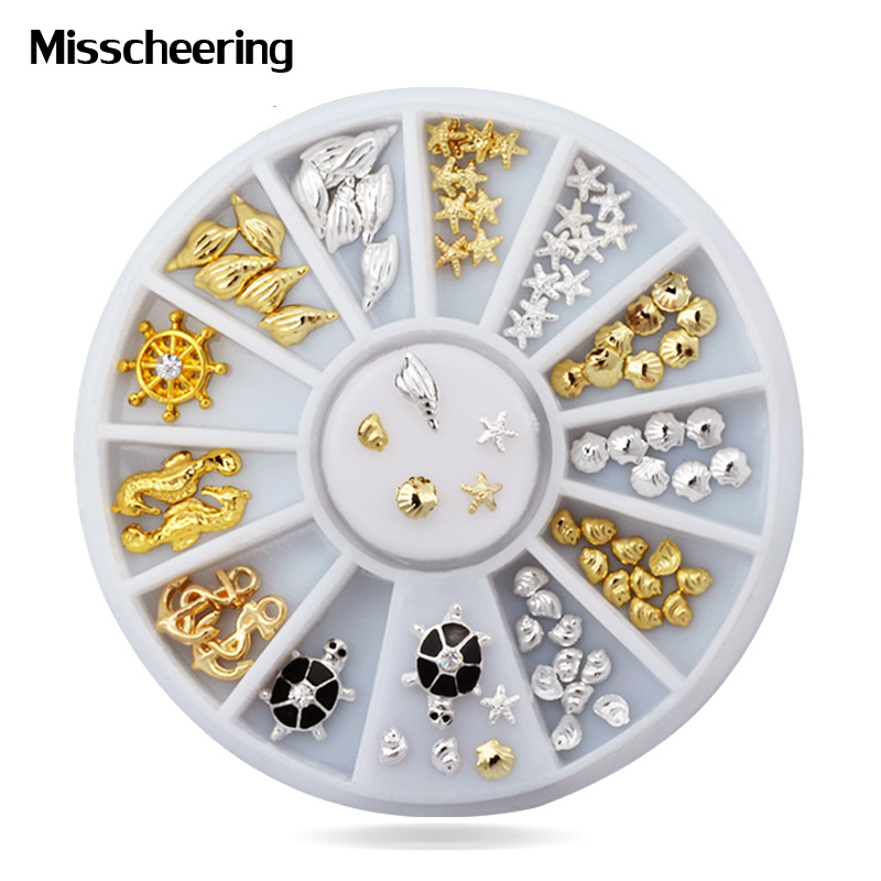 1Set 2015 New Fashion 3d Nail Art Decorations Ocean Sea Style Alloy Jewelry Glitter Charm Rhinestone Wheel 2014 new arrive rose flowers nail decorations 7mm 24pcs set 3d alloy charm design manicure nail art accessories