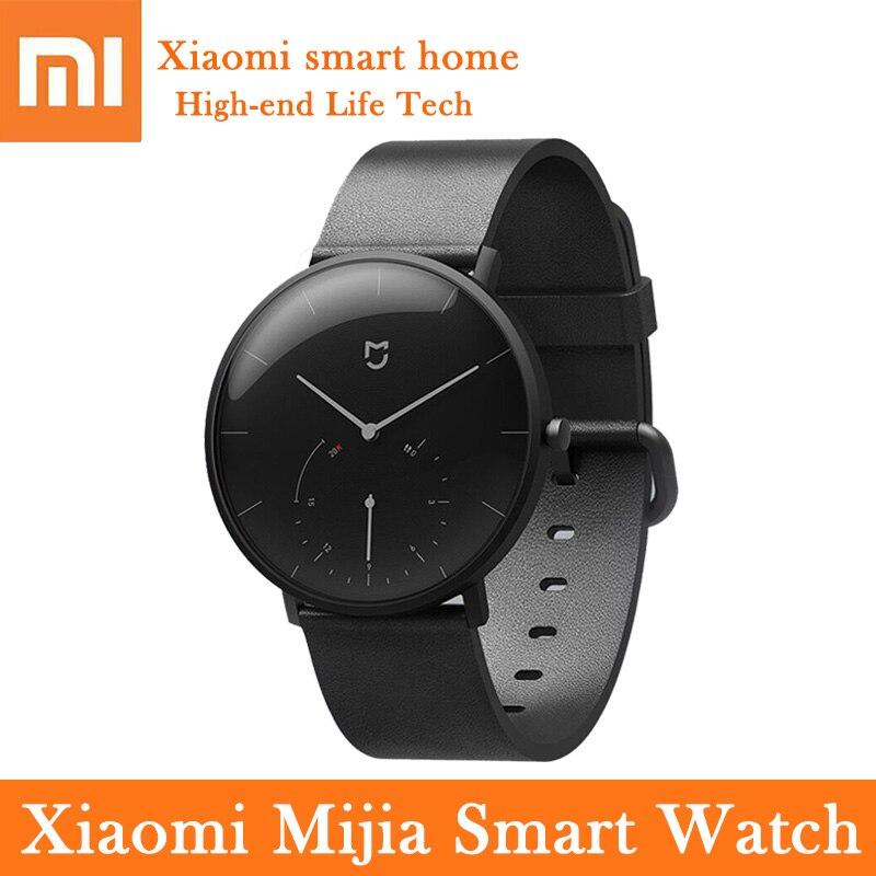 Xiaomi Mijia Quartz montre intelligente bracelet en cuir podomètre étanche appel rappeler Bluetooth Sport Smartwatch femmes hommes