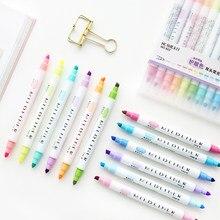 12 teile/los Kreative Farbige Doppel Kopf Fluoreszierende Stift Candy Farbe Mild Liner Kunst Marker Textmarker Stifte für Zeichnung Malerei