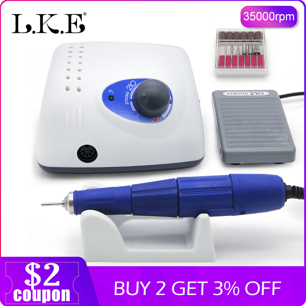 LKE New 65W Strong 210 102L Brushless Nail Drills Manicure Machine Pedicure Electric Strong 35000RPM File Bits Nails Art EquipmeLKE New 65W Strong 210 102L Brushless Nail Drills Manicure Machine Pedicure Electric Strong 35000RPM File Bits Nails Art Equipme