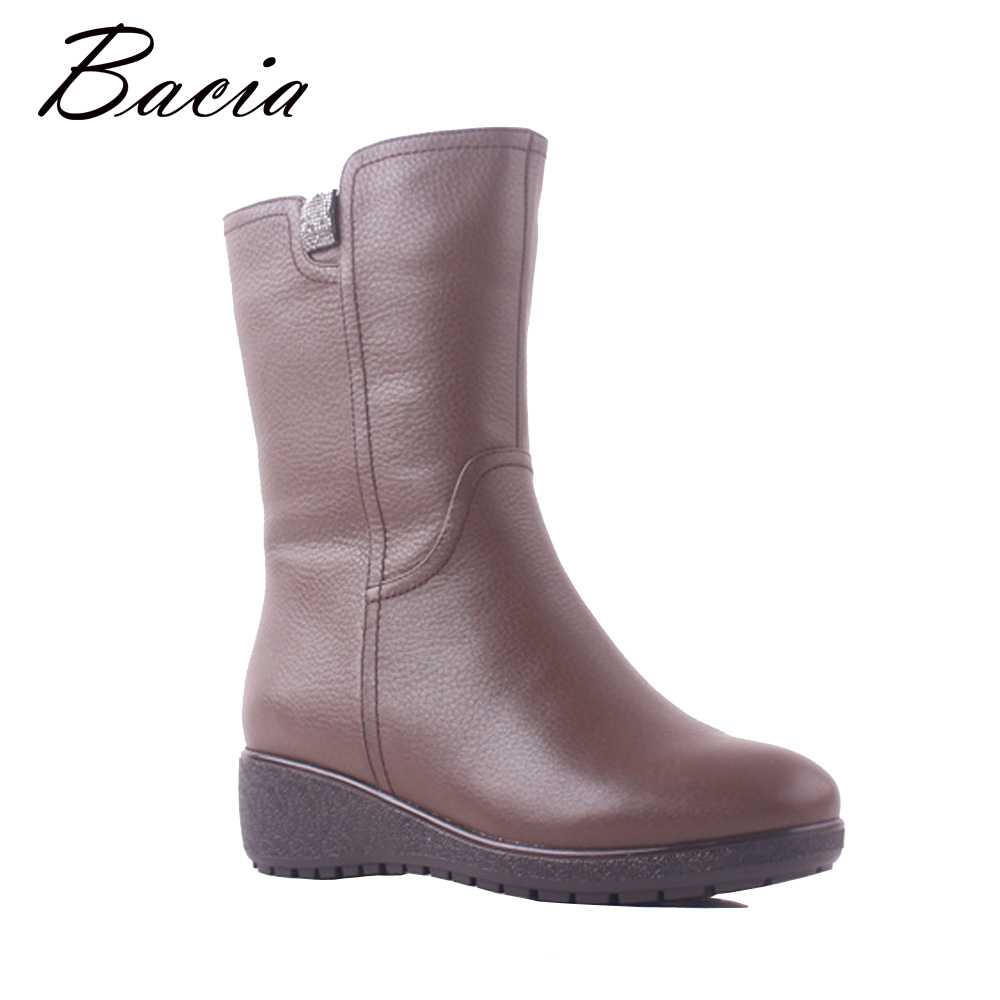 Bacia Winter Boots Women Genuine Leather 100% Real Wool Fur Fashion Mujer Botas Snow Boots Low Heels Wedges Gray Shoes SB115 bacia winter boots for women full grain leather boots heels 5 8cm wool fur