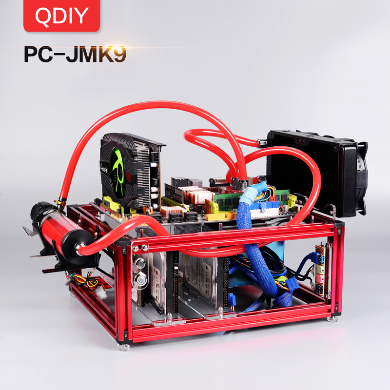QDIY ATX PC-JMK9 Novo Personalizado Abertura Liga de Alumínio Plataforma Bloco Refrigerado A Água Jogador Do Jogo Caso PC