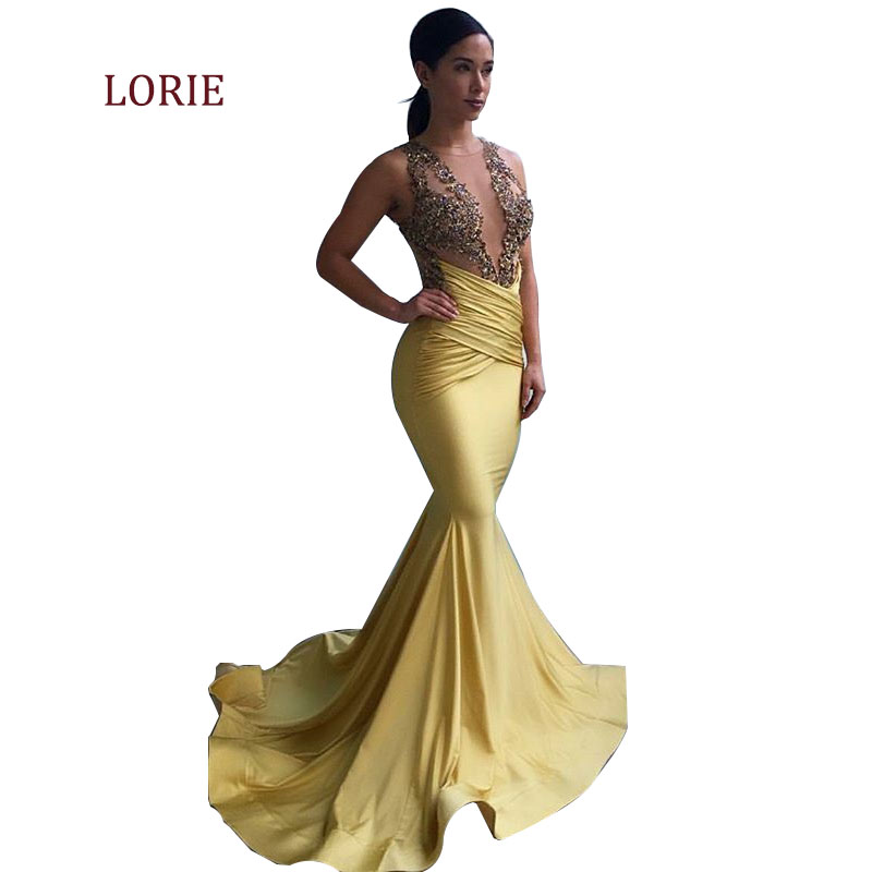 Gold Satin Prom Dress