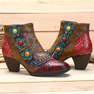 Image 5 - Socofy Vintage Bohemian Printed Winter Boots Women Shoes Woman Genuine Leather Splicing Handmade Flower Women Ankle Boots Botas