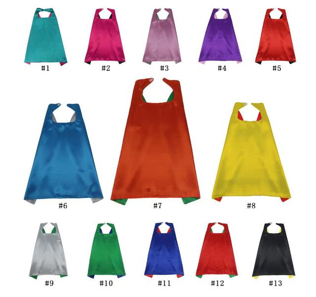 Plain solid two colored satin superhero cape child cape party favor satin capes