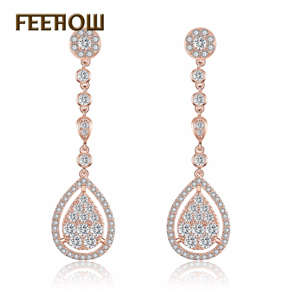 FEEHOW 2018 New Design Water Drop CZ Stone Dangle Drop Earrings Long Laidis Girls Silver/Rose Gold /Gold Color Earrings Jewelry contrast design drop earrings