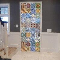Baroque style Personality decorative color tile door sticker Bedroom wooden door house decoration 3D PVC self adhesive wallpaper