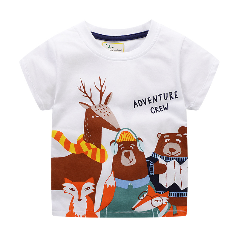 Cute Rabbit Printed Cartoon T shirt Tops Summer Baby Boys T shirt Children Summer Clothes Cotton Baby Tees for Boys in T Shirts from Mother Kids