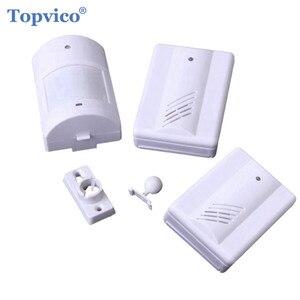 Topvico инфракрасный датчик движения из PIR детектор сигнализация + 2 приемники дверного звонка 90dB музыка беспроводной магазин домашняя сигнали...