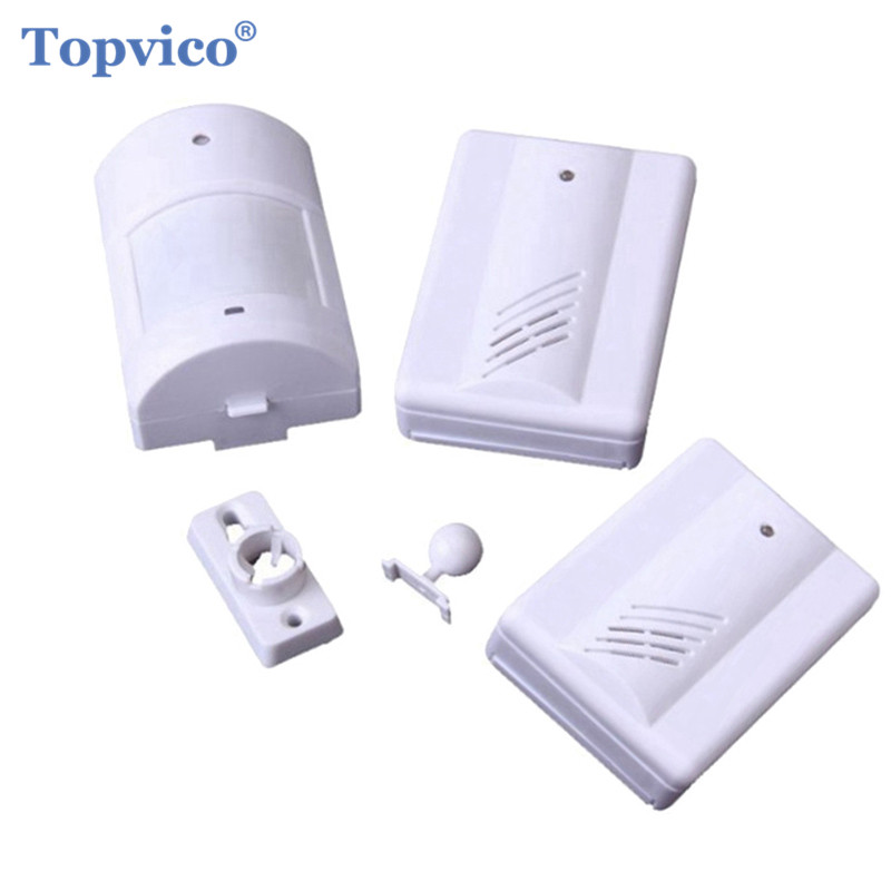 Topvico PIR Infrared Motion Sensor Detector Alarm + 2 Receivers Doorbell 90dB Music Wireless Store Home Alarm Systems Security safurance 90db security burglar infrared motion sensor detector pir alarm home shed garage for home security safety
