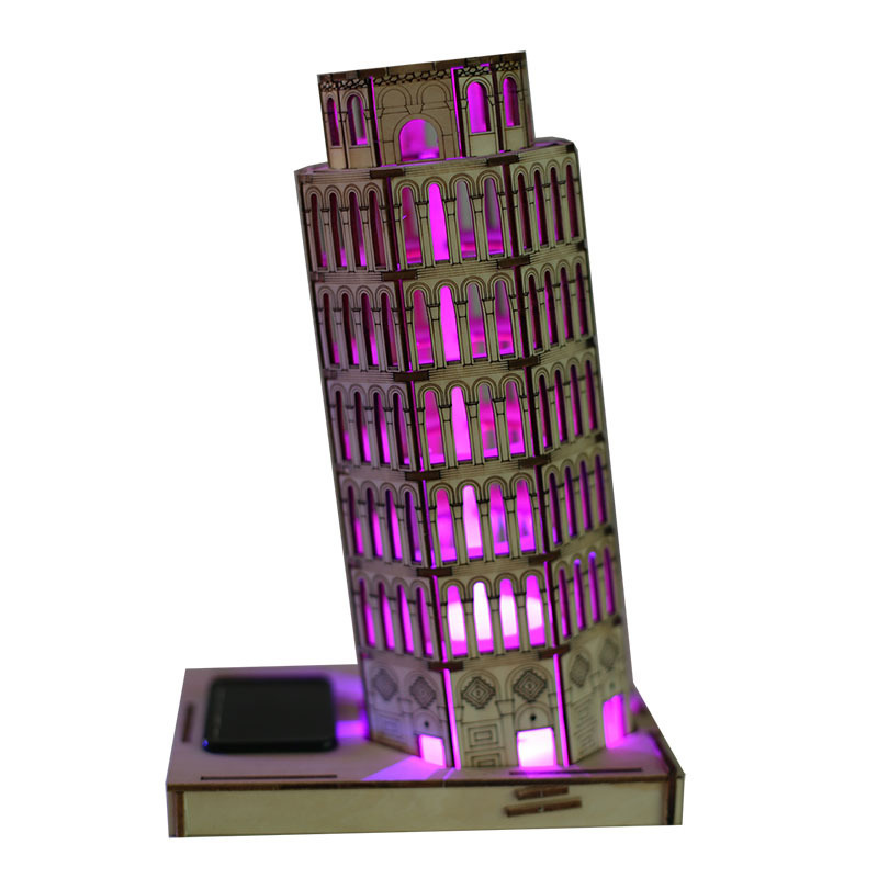 Diy Solar Wooden Jigsaw 3D Puzzle The Leaning Tower of Pisa Miniature Toy  Model Building Kits Toys Birthday Christmas Gift la mer collections lmsoho1010