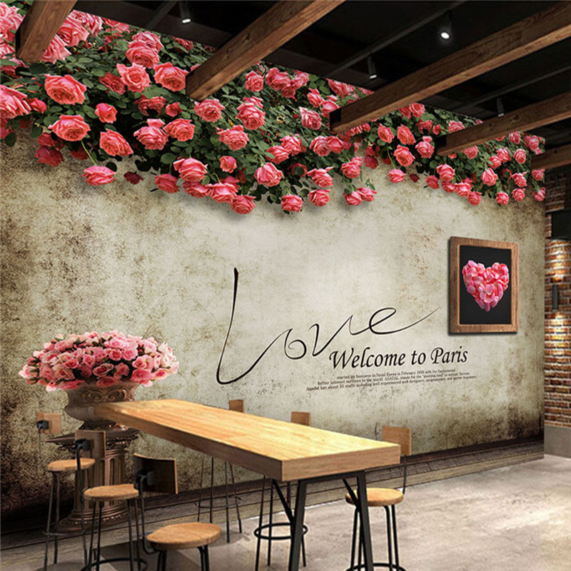 Custom Photo Wallpaper Retro Rose Wall Painting Restaurant Cafe Bedroom Backdrop Wall Decor Mural Wall Paper Papel De Parede 3 D