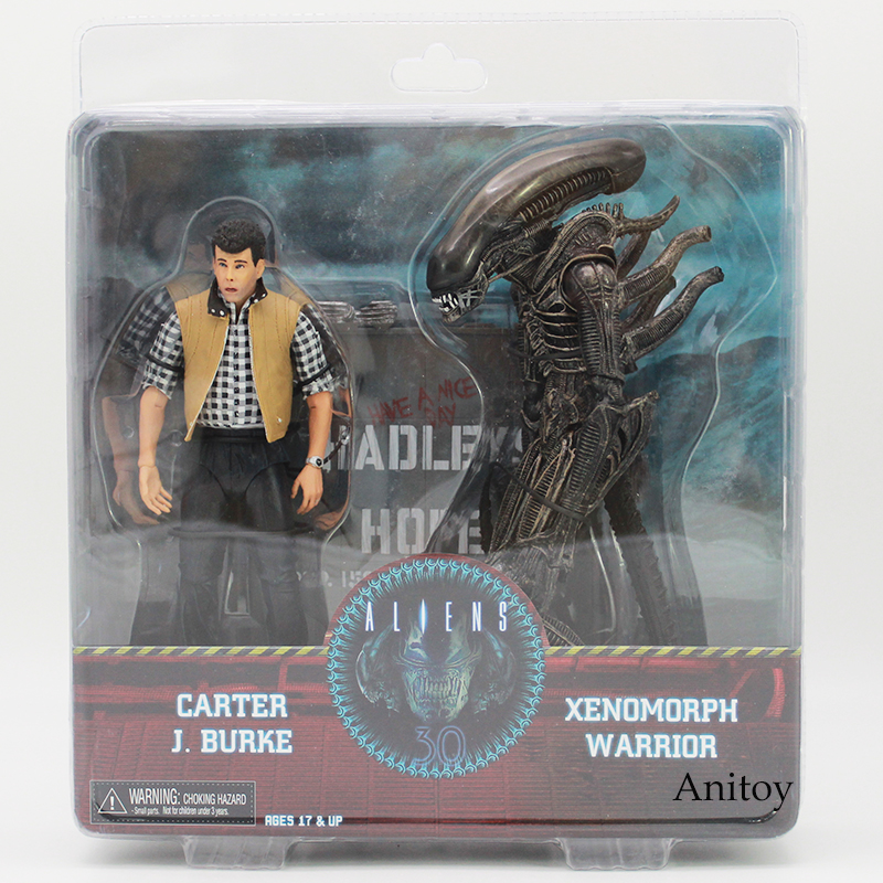 NECA ALIENS CARTER J BURKE VS XENOMORPH WARRIOR PVC Action Figure Collectible Model Toy 2-pack цена
