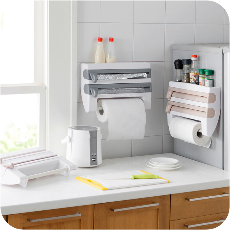 Us 17 41 18 Off Kitchen Aluminum Film Cutter Paper Towel Holder Wall Mounted Roll Dispenser Cutting Foil Cling Wrap Kitchen Storage Rack In Plastic