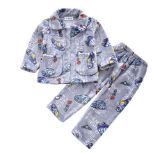 лучшая цена Warmed for winter Pijamas Kids Flannel Pijama set Baby boy girl Cartoon printing Pajamas Children sleepwear Infant pajamas