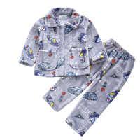 Warmed for winter Pijamas Kids Flannel Pijama set Baby boy girl Cartoon printing Pajamas Children sleepwear Infant pajamas