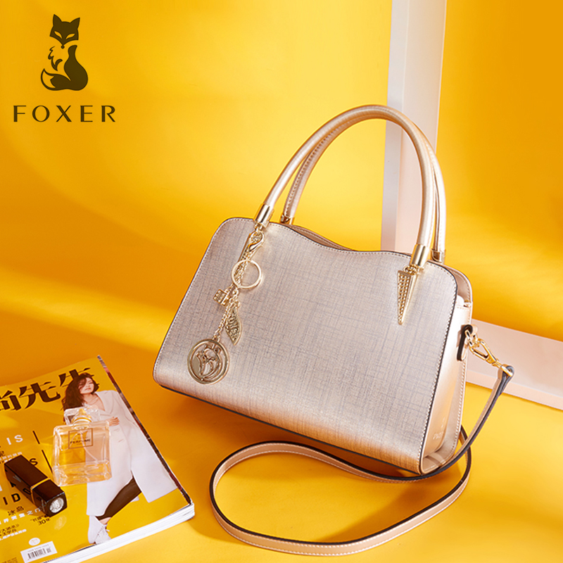 FOXER Brand Women Cow Leather Handbags Lady Shoulder Bag Simple & Luxury Crossbody Bags for Female Fashion High Quality Bags foxer brand women s leather handbag fashion female totes shoulder bag high quality handbags